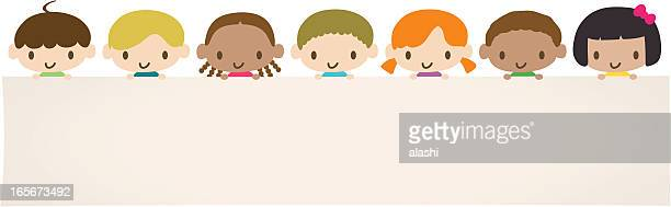 World Kids: Multicultural children holding a blank message sign