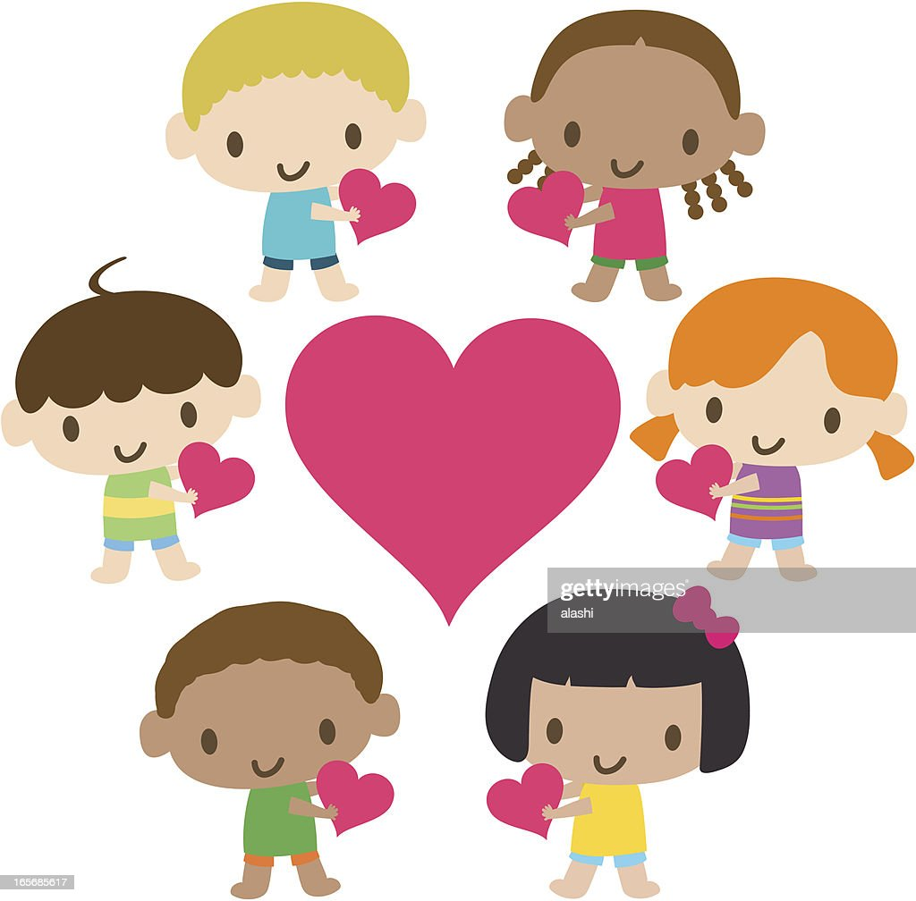 Showing Love: World Kids Multicultural Children Showing Love Vector Art