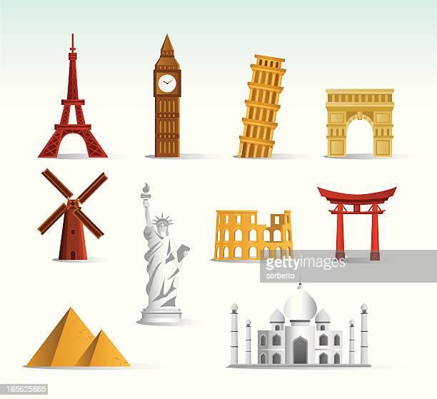 world landmark icon set - monument stock illustrations