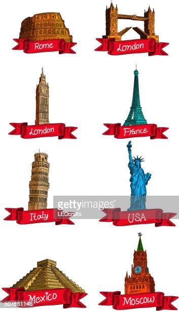 world landmarks drawing - leaning tower of pisa stock illustrations, clip art, cartoons, & icons