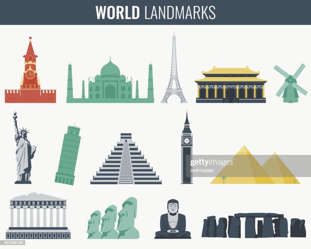 World landmarks flat icon set. Travel and Tourism. Vector