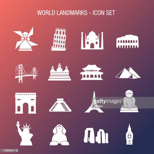 World Landmarks Icon Set Coral and Blue Gradient Background