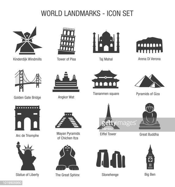 world landmarks icon set - famous place stock illustrations