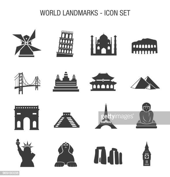world landmarks icon set - leaning tower of pisa stock illustrations, clip art, cartoons, & icons