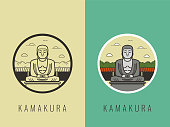 World landmarks. Japan. Travel and tourism background. Line icons. Vector