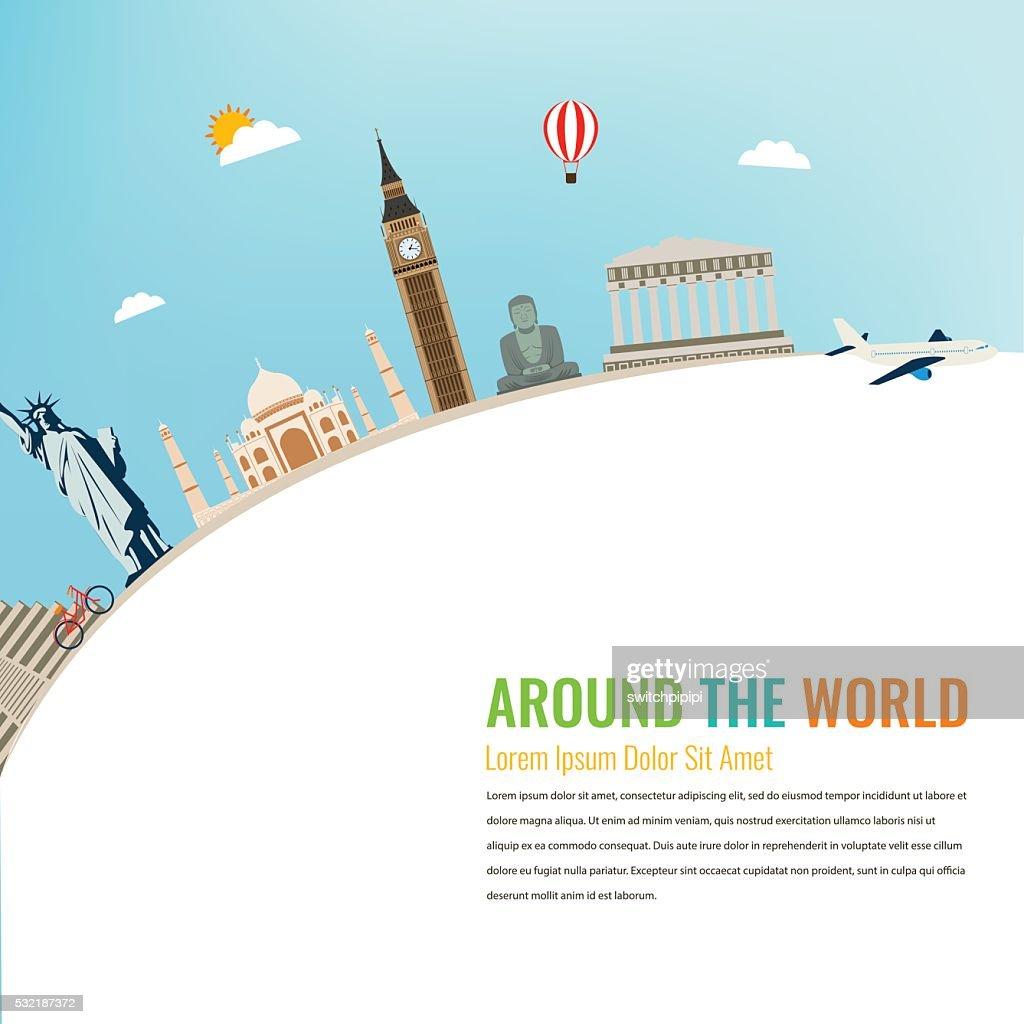World landmarks. Travel and tourism background. Vector flat illustration