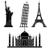 World Landmarks. Vector line icons set.