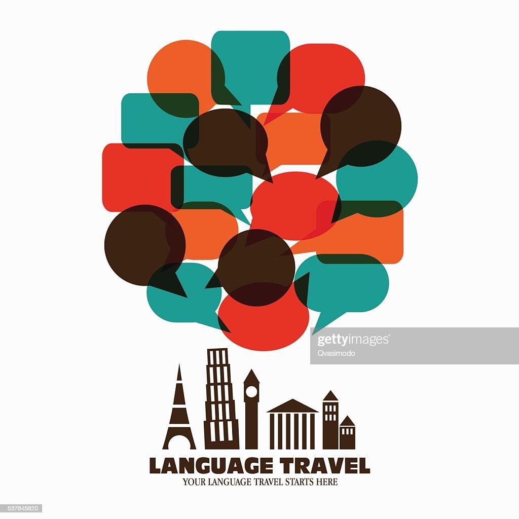 World landmarks with speech bubbles