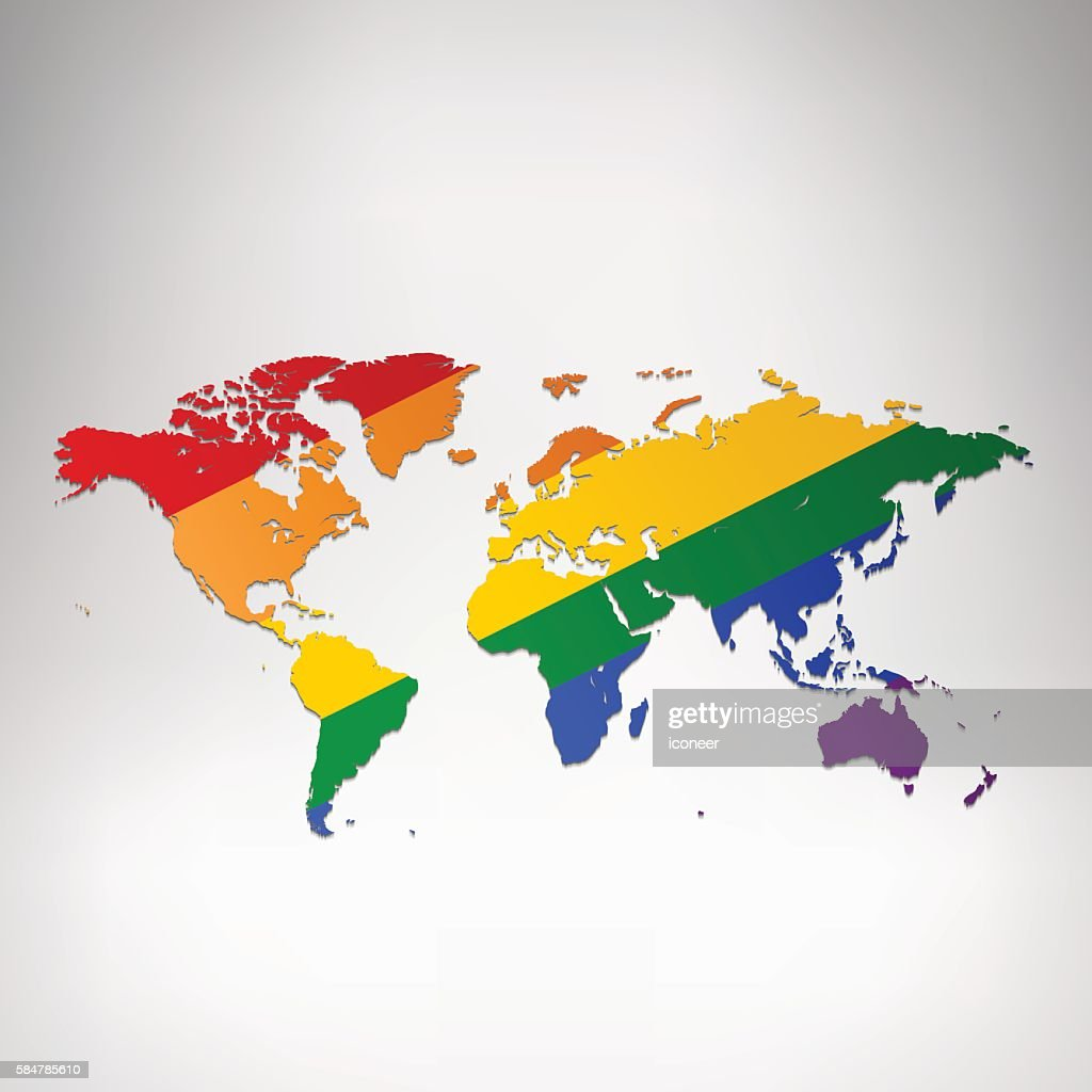 world lgbt flag map on grey background vector art