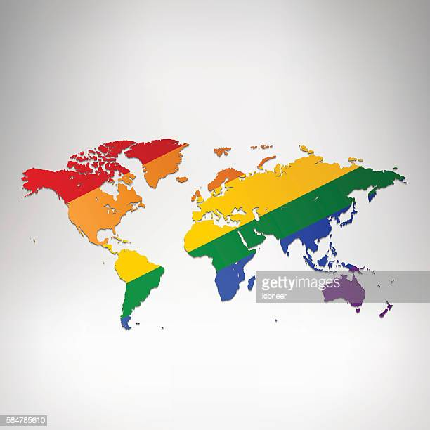World LGBT flag map on grey background