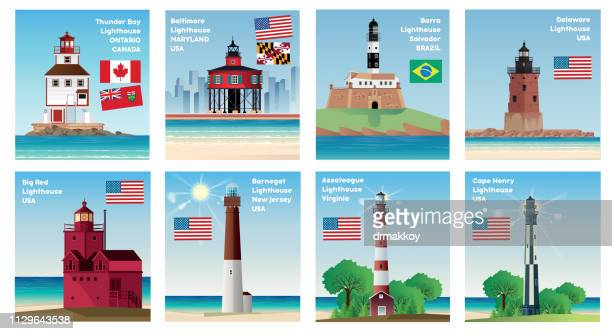 world lighthous - lighthouse stock illustrations
