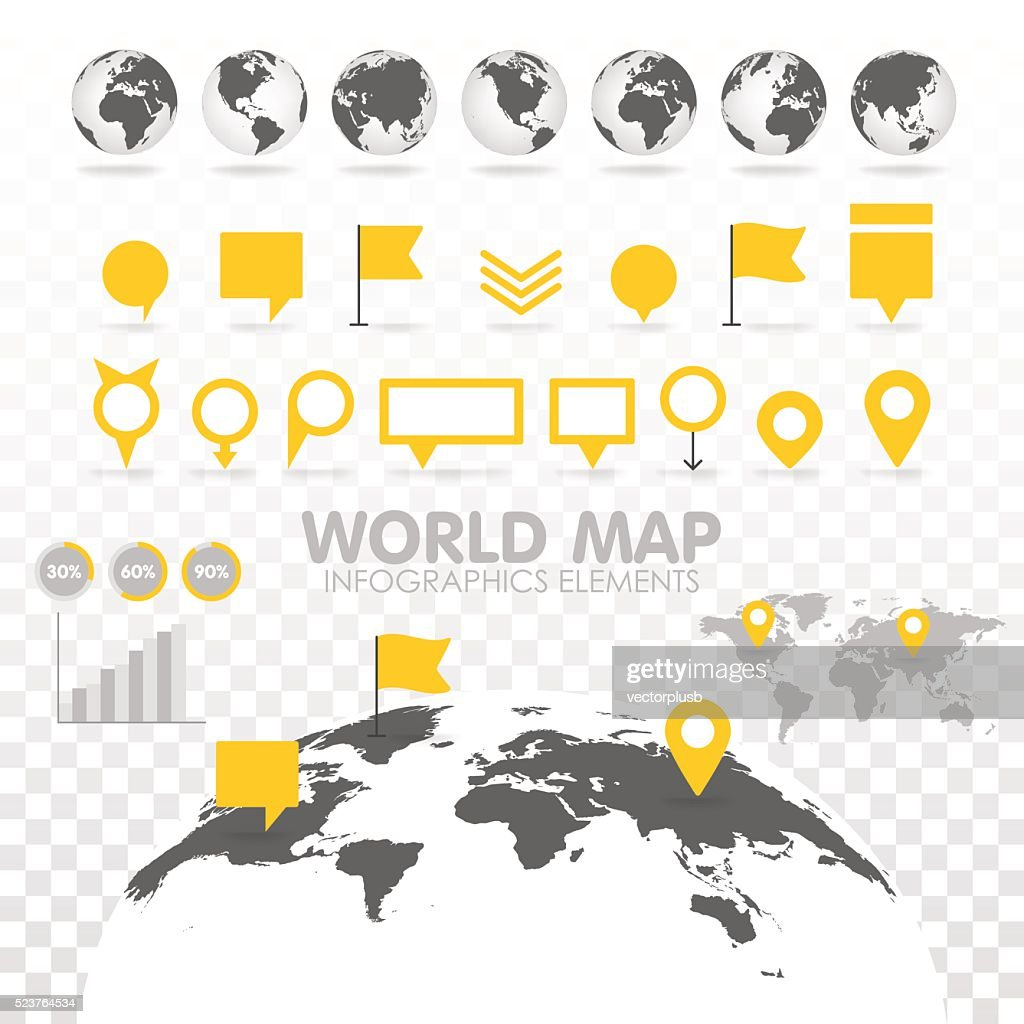 World map 3D with set of infographics elements.