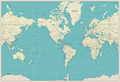 World Map Americas Centered Map. Old colors.