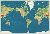 World Map Americas Centered Physical Map. Vintage Colors. No bathymetry