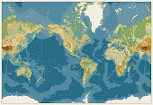 World Map Americas Centered Physical Map. Vintage Colors. No text