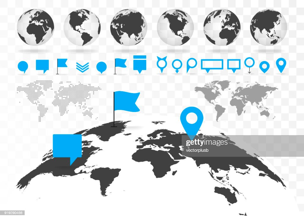 World map and 3D globe set with infographics elements.