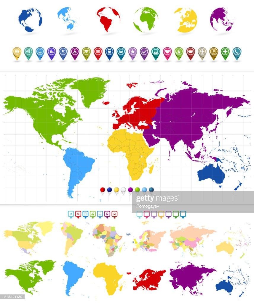 World Map And Colorful Continents With Large Navigation Icon ...