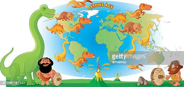 world map and dinosour - velociraptor stock illustrations