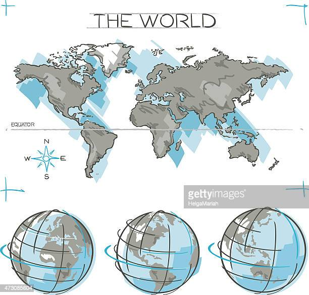 Equator line stock illustrations and cartoons getty images world map and earth globe sketches gumiabroncs Gallery