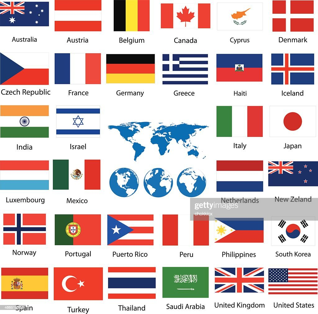 World map and flags vector art getty images world map and flags vector art gumiabroncs Images