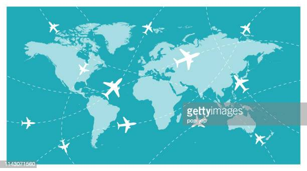 world map and global airline-vector - travel destinations stock-grafiken, -clipart, -cartoons und -symbole
