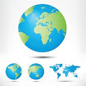 World map and globe detail vector illustration.