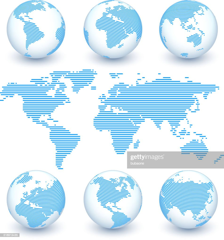 World Map and Globe Set royalty free vector art