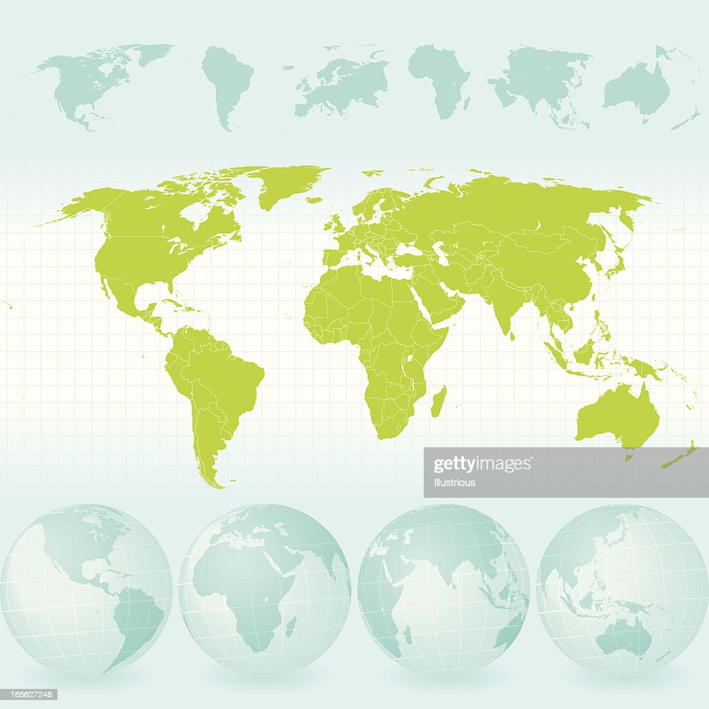 World map and globe set with continents also countries vector art world map and globe set with continents also countries vector art gumiabroncs Images