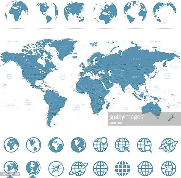 世界地図&地球儀-イラストレーション - 太平洋点のイラスト素材/クリップアート素材/マンガ素材/アイコン素材