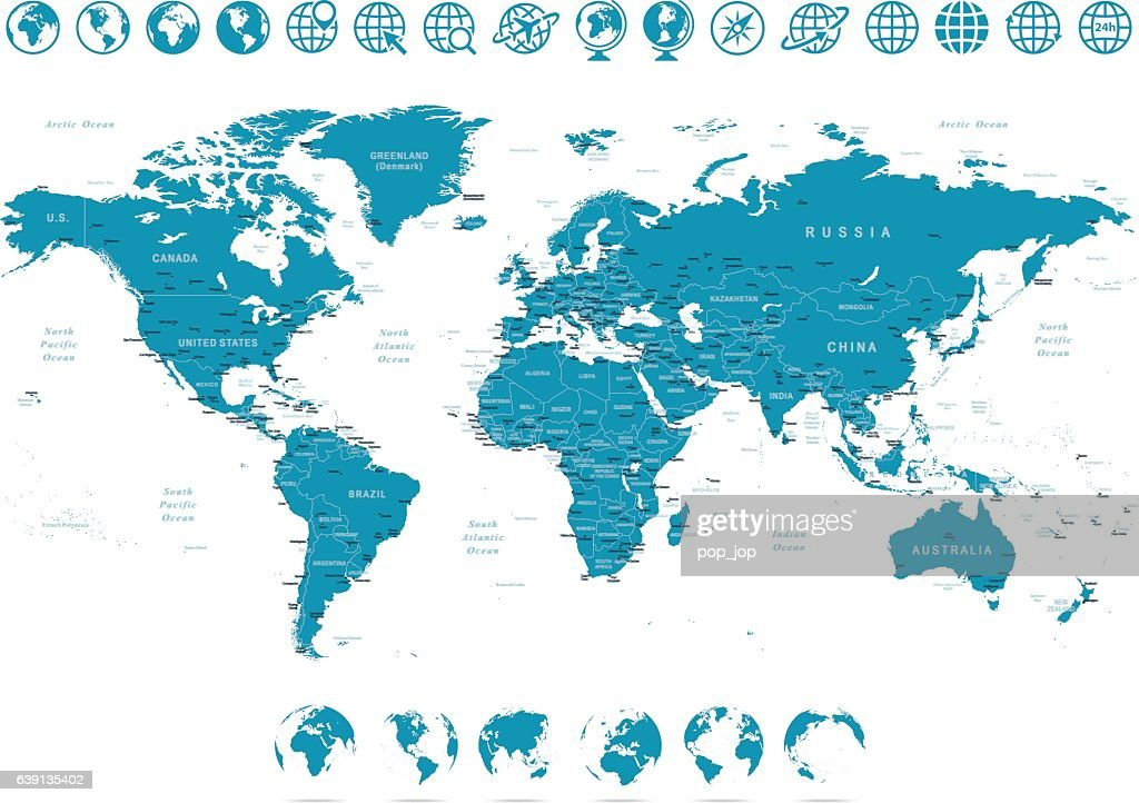 World Map and Globes - illustration : Stockillustraties