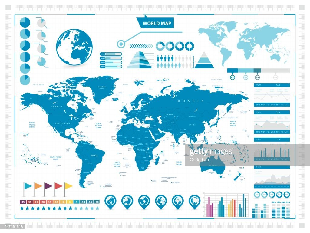 World Map and infograpchic elements