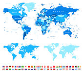 World Map and Most Popular Flags - borders, countries and cities -illustration