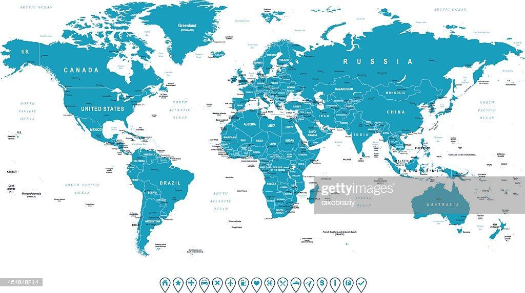 World Map and navigation icons - illustration