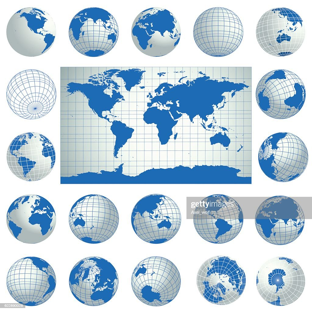 World map and set of blue globe icons. Vector