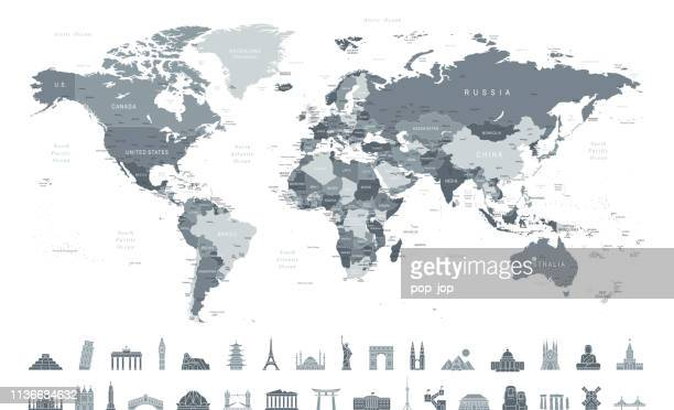 world map and travel icons - borders, countries and cities - vector illustration - vector stock illustrations