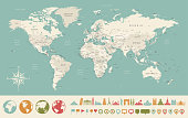 Wereldkaart en reis iconen