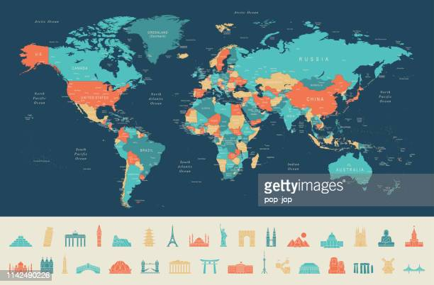 illustrazioni stock, clip art, cartoni animati e icone di tendenza di world map and travel icons - europa continente