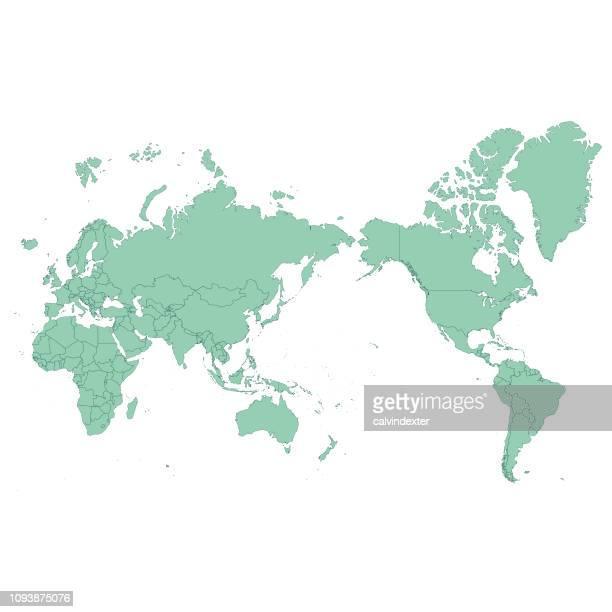 illustrazioni stock, clip art, cartoni animati e icone di tendenza di world map asia centered - al centro