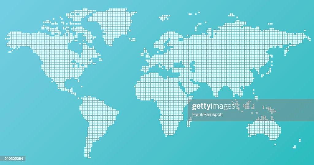 World Map Basic Square Pattern Turquoise