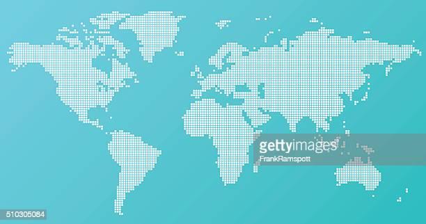 世界地図ベーシックスクエア模様のターコイズ - 平面形点のイラスト素材/クリップアート素材/マンガ素材/アイコン素材