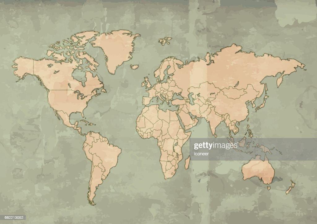 World map beige retro design teal background grunge vector art world map beige retro design teal background grunge vector art gumiabroncs Gallery