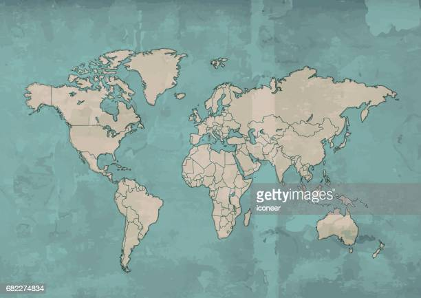 World map beige retro design wooden background