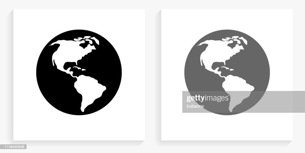World Map Black And White Square Icon Stock-Illustration ...