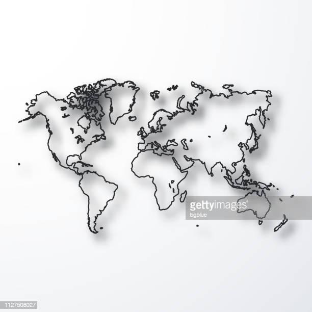 stockillustraties, clipart, cartoons en iconen met kaart van de wereld - zwarte omtrek met schaduw op witte achtergrond - contourlijn