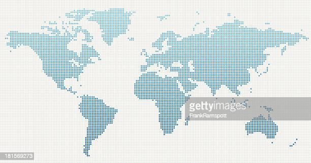 weltkarte-blau gepunktet - frankramspott stock-grafiken, -clipart, -cartoons und -symbole