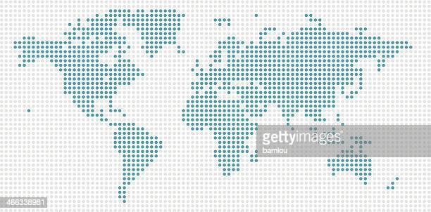 Weltkarte-Blau, gepunktet