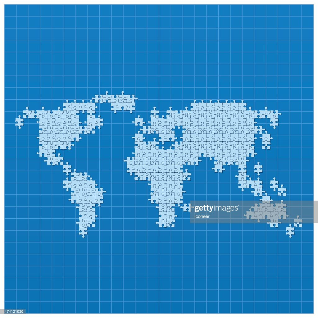 World map blue made of puzzle parts on blueprint vector art world map blue made of puzzle parts on blueprint vector art gumiabroncs Choice Image