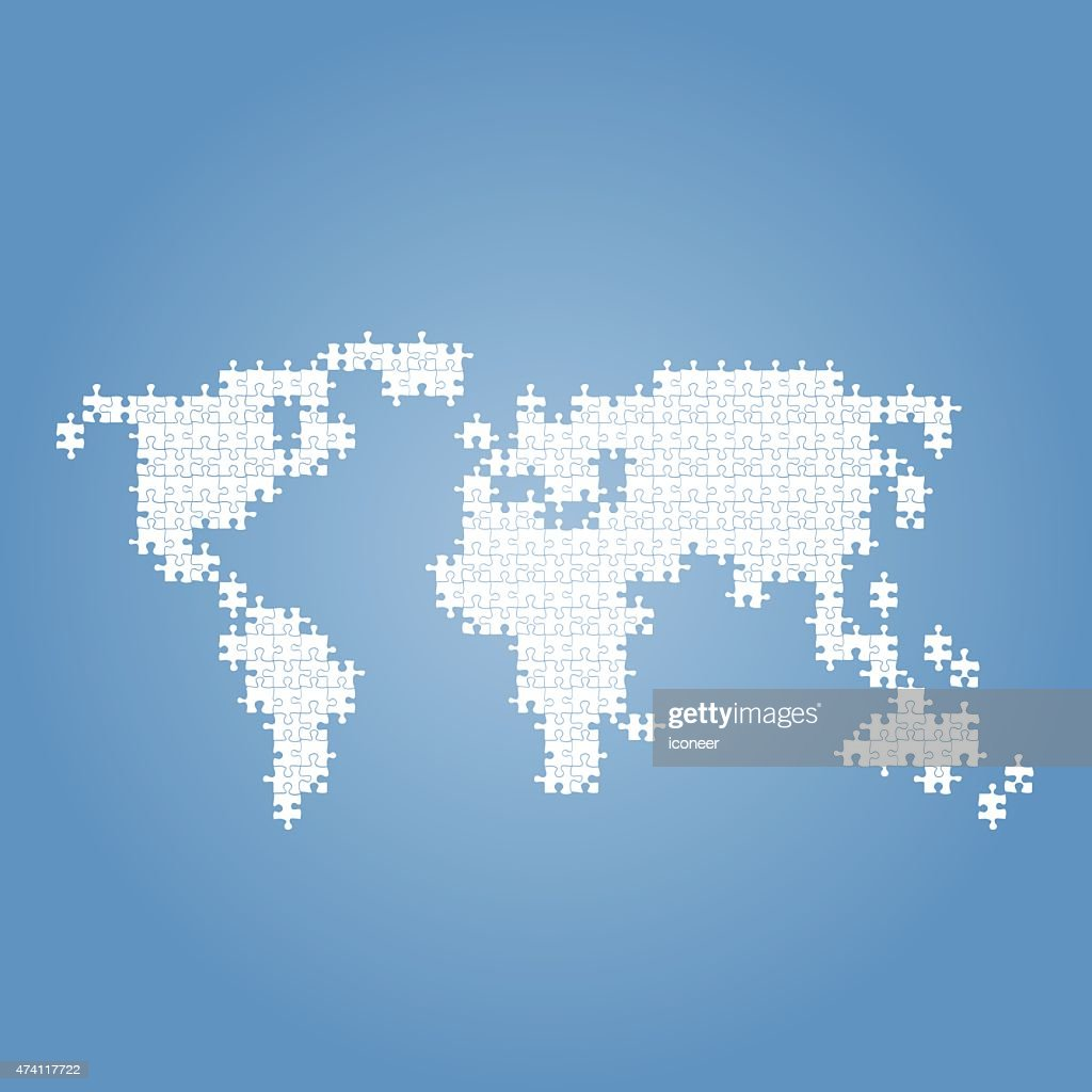 World map blue made of puzzle parts vector art getty images world map blue made of puzzle parts vector art gumiabroncs Gallery