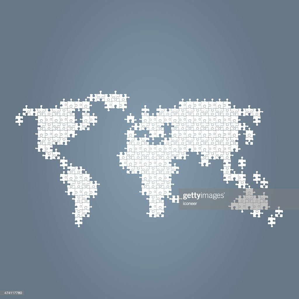 World map blue made of puzzle parts vector art getty images world map blue made of puzzle parts vector art gumiabroncs Choice Image