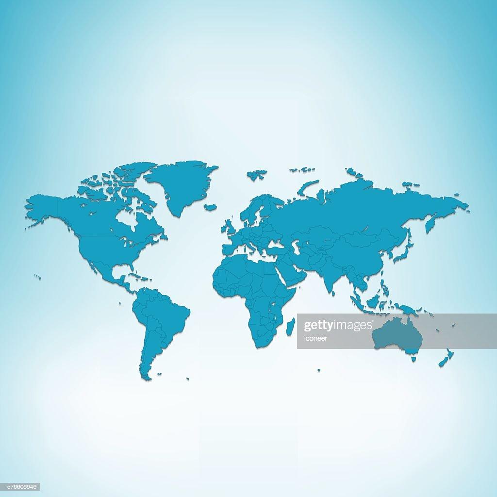 World map blue on grey 3d background vector art getty images world map blue on grey 3d background vector art gumiabroncs Images